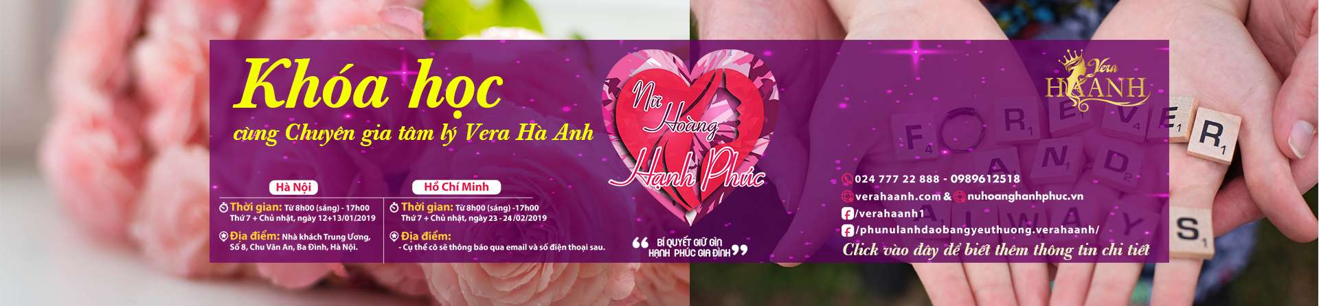 banner website nu hoang hanh phuc - Expert of marriage, love and Vera Ha Anh family