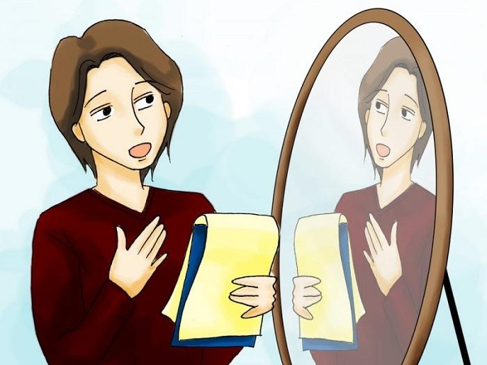 Hãy thử luyện tập đọc trước gương để dễ khắc phục lỗi sai khi nói